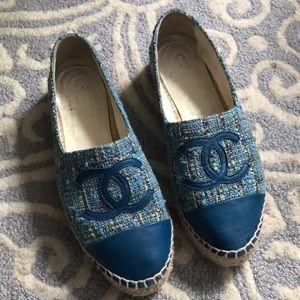 Chanel Blue Platform Espadrilles Sparkle Weave